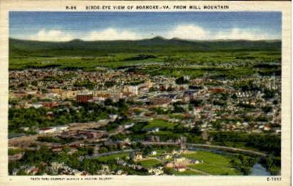 Birds Eye View Of Roanoke - Virginia VA Postcard