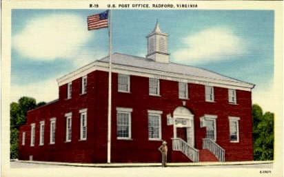 U. S. Post Office - Radford, Virginia VA Postcard