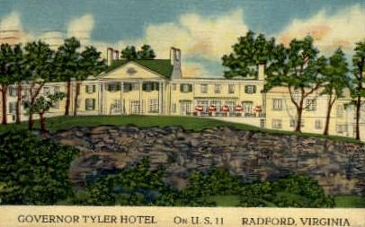 Governer Tyler Hotel - Radford, Virginia VA Postcard