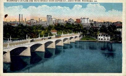 Richmond's Skyline And Mayo Bridge - Virginia VA Postcard