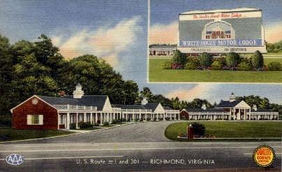 White-House Motor Lodge - Richmond, Virginia VA Postcard