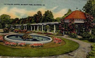 The Italian Garden - Richmond, Virginia VA Postcard