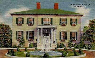 The Governers Mansion - Richmond, Virginia VA Postcard
