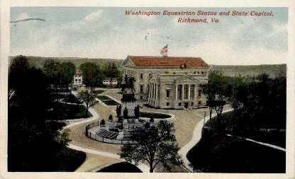 Washington Equestrian Staue - Richmond, Virginia VA Postcard