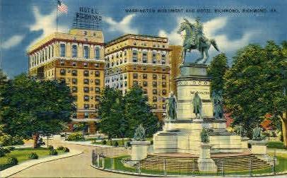 Washington Monument - Richmond, Virginia VA Postcard