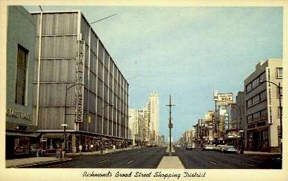 Broad Street Shopping Center - Richmond, Virginia VA Postcard