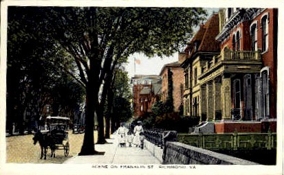 Franklin Street - Richmond, Virginia VA Postcard