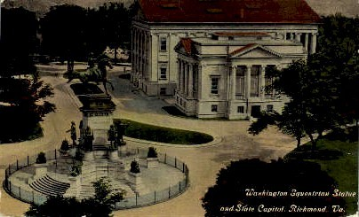 Washington Equestrian Statue - Richmond, Virginia VA Postcard