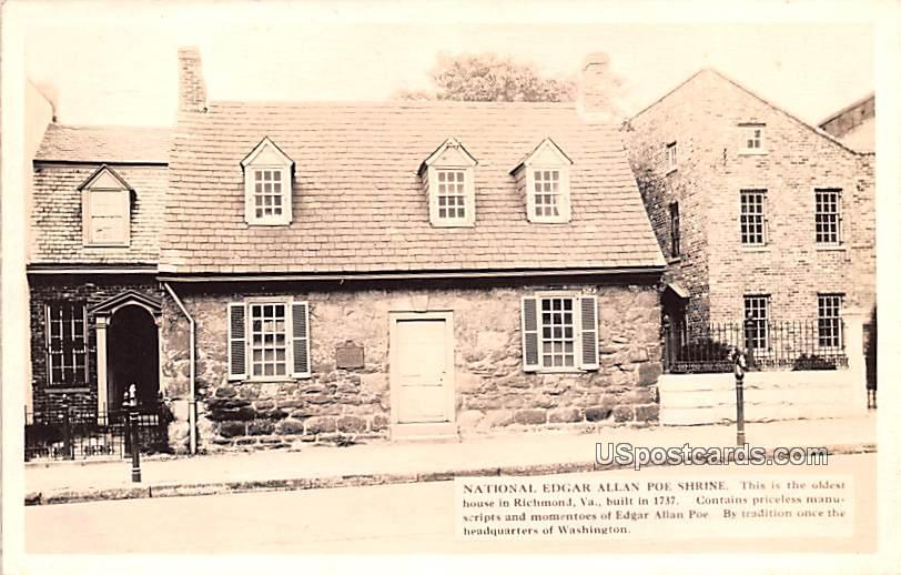 National Edgar Allan Poe Shrine - Richmond, Virginia VA Postcard