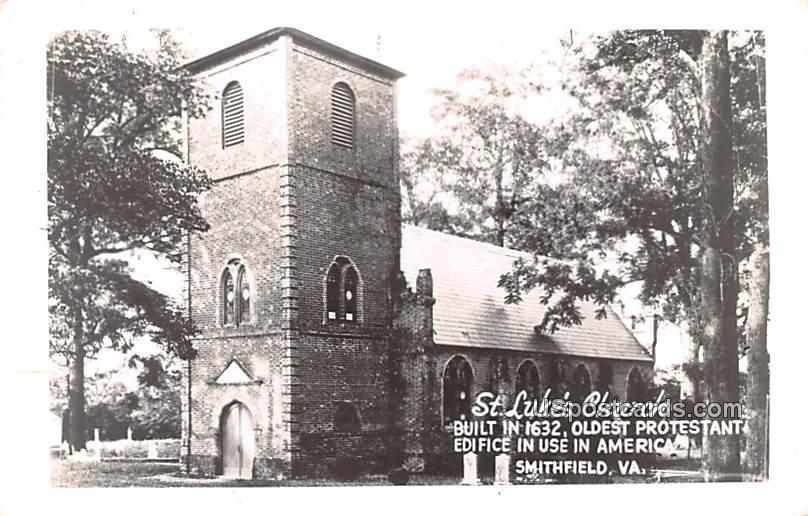 St Luke's Church - Smithfield, Virginia VA Postcard