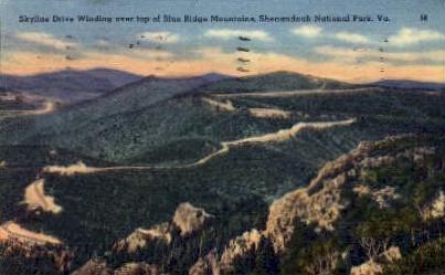 Blue Ridge Mountains - Shenandoah National Park, Virginia VA Postcard