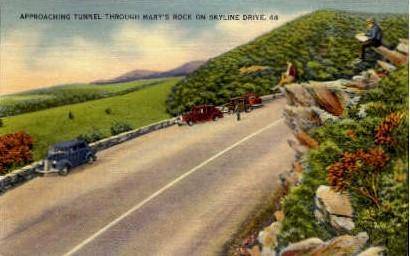 Approaching Tunnel - Skyline Drive, Virginia VA Postcard