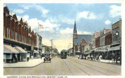 Jefferson Avenue - Newport News, Virginia VA Postcard