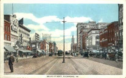 Broad Street - Richmond, Virginia VA Postcard