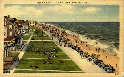 Beach Scene - Virginia Beach Postcards, Virginia VA Postcard