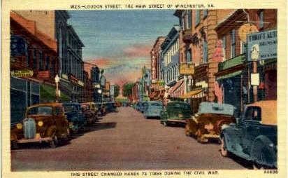 Loudon Street  - Winchester, Virginia VA Postcard