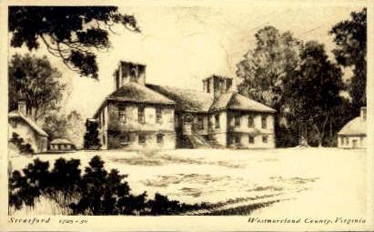 Stratford Hall - Westmoreland, Virginia VA Postcard