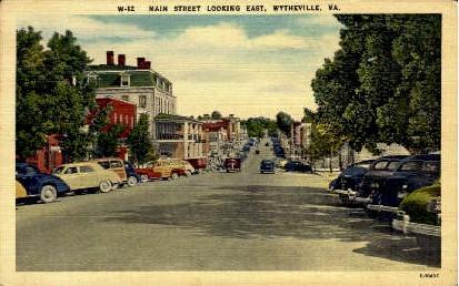 Main Street - Wytheville, Virginia VA Postcard