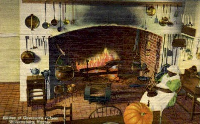 Kitchen Of Governer's Palace - Williamsburg, Virginia VA Postcard