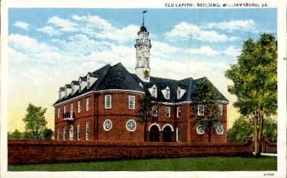 Old Capitol Building - Williamsburg, Virginia VA Postcard