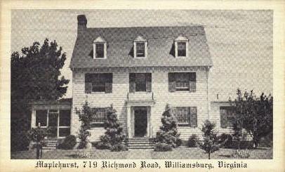 Maplehurst - Williamsburg, Virginia VA Postcard