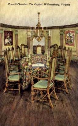 Counsil Chamber At The Capitol - Williamsburg, Virginia VA Postcard