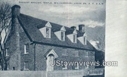 Present Masonic Temple - Williamsburg, Virginia VA Postcard