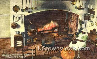 Kitchen In The Governors Palace - Williamsburg, Virginia VA Postcard