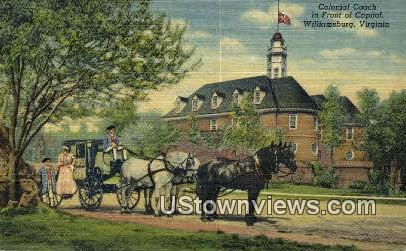 Colonial Coach At The Capitol - Williamsburg, Virginia VA Postcard