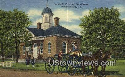 Coach In Front Of Courthouse - Williamsburg, Virginia VA Postcard