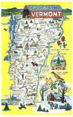 Vermont Map - Misc Postcard