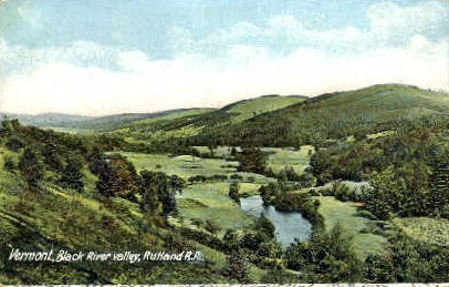 Rutland R. R. - Black River, Vermont VT Postcard