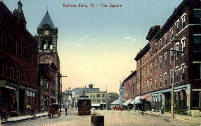 The Square - Bellows Falls, Vermont VT Postcard