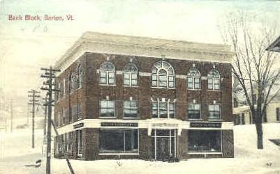Bank Block Bank, Post Office - Barton, Vermont VT Postcard
