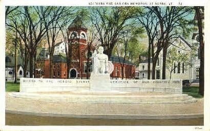 Soldiers & Sailors Memorial - Barre, Vermont VT Postcard