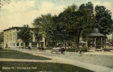 City Hall & Park - Barre, Vermont VT Postcard