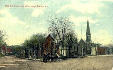 The Common & Churches - Barre, Vermont VT Postcard