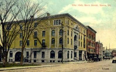 City Hall & Main St. - Barre, Vermont VT Postcard