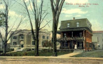 Aldrich Library & City Hotel - Barre, Vermont VT Postcard