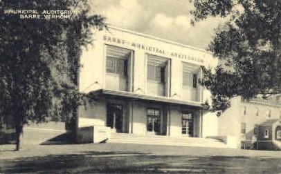 Municipal Auditorium - Barre, Vermont VT Postcard
