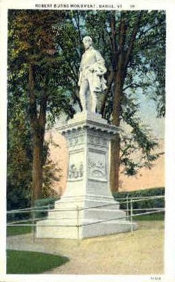 Robert Burns Monument - Barre, Vermont VT Postcard