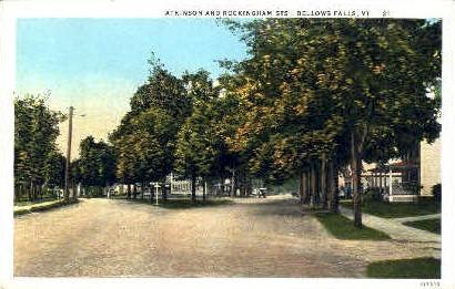 Atkinson & Rockingham Sts. - Bellows Falls, Vermont VT Postcard