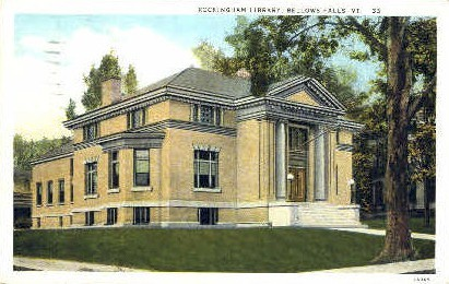 Rockingham Library - Bellows Falls, Vermont VT Postcard