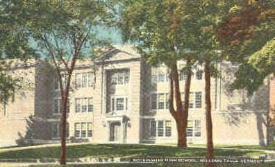 Rockingham High School - Bellows Falls, Vermont VT Postcard