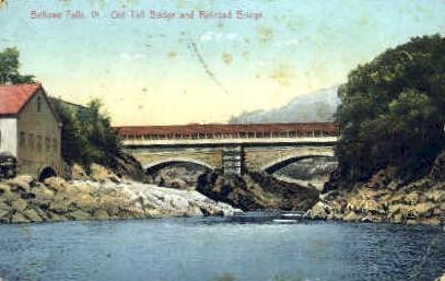 Toll Bridge & Railroad Bridge - Bellows Falls, Vermont VT Postcard
