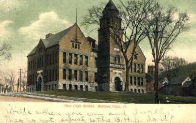 High School - Bellows Falls, Vermont VT Postcard