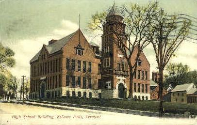 High School Building - Bellows Falls, Vermont VT Postcard