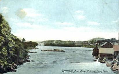 Connecticut River - Bellows Falls, Vermont VT Postcard