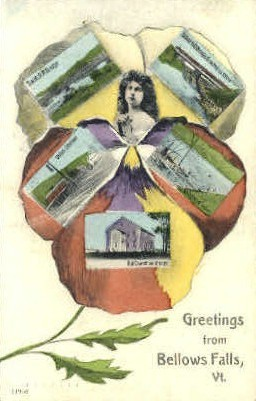 Greetings From - Bellows Falls, Vermont VT Postcard