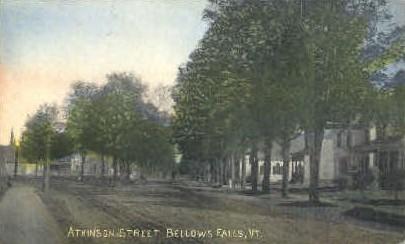 Atkinson St. - Bellows Falls, Vermont VT Postcard